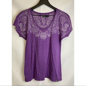 Prana Purple Tee with White Pattern Size M